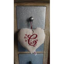 Coeur en lin SB / Initiale...