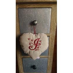 Coeur en lin SB/ Initiale...