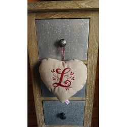 Coeur en lin SB / Initiale (L)